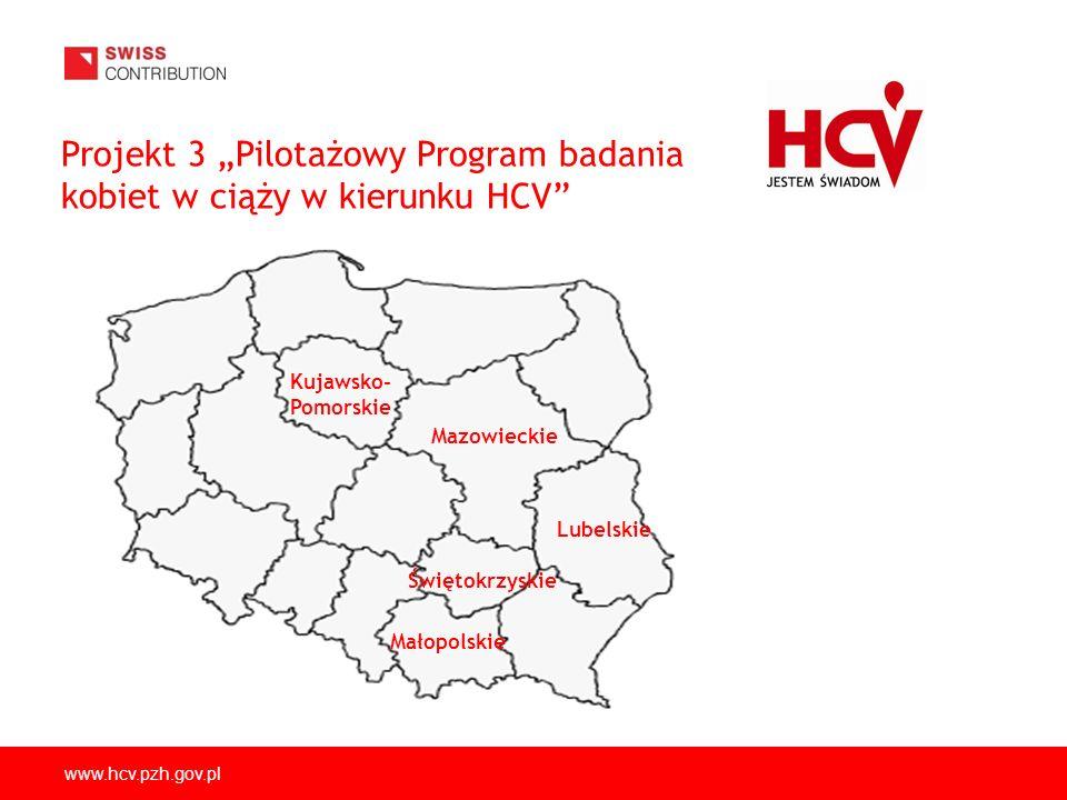 www.hcv.pzh.gov.pl Projekt 3 Pilotażowy Program badania kobiet w ciąży w kierunku HCV Mazowieckie Kujawsko- Pomorskie Lubelskie Świętokrzyskie Małopol