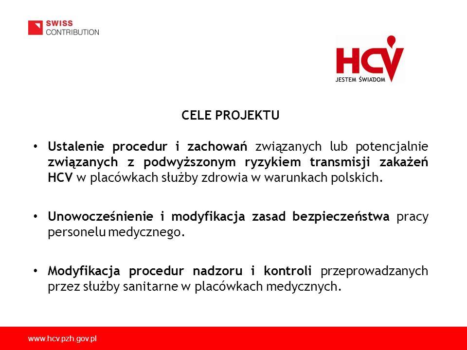 www.hcv.pzh.gov.pl CELE PROJEKTU Ustalenie procedur i zachowań związanych lub potencjalnie związanych z podwyższonym ryzykiem transmisji zakażeń HCV w placówkach służby zdrowia w warunkach polskich.