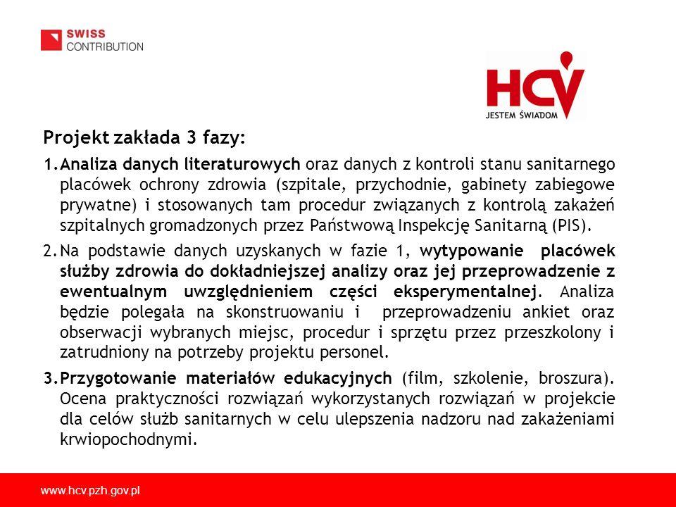 www.hcv.pzh.gov.pl Projekt zakłada 3 fazy: 1.Analiza danych literaturowych oraz danych z kontroli stanu sanitarnego placówek ochrony zdrowia (szpitale, przychodnie, gabinety zabiegowe prywatne) i stosowanych tam procedur związanych z kontrolą zakażeń szpitalnych gromadzonych przez Państwową Inspekcję Sanitarną (PIS).