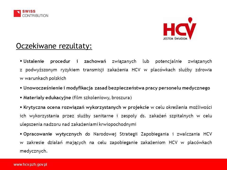 www.hcv.pzh.gov.pl Oczekiwane rezultaty: Ustalenie procedur i zachowań związanych lub potencjalnie związanych z podwyższonym ryzykiem transmisji zakażenia HCV w placówkach służby zdrowia w warunkach polskich Unowocześnienie i modyfikacja zasad bezpieczeństwa pracy personelu medycznego Materiały edukacyjne (film szkoleniowy, broszura) Krytyczna ocena rozwiązań wykorzystanych w projekcie w celu określenia możliwości ich wykorzystania przez służby sanitarne i zespoły ds.
