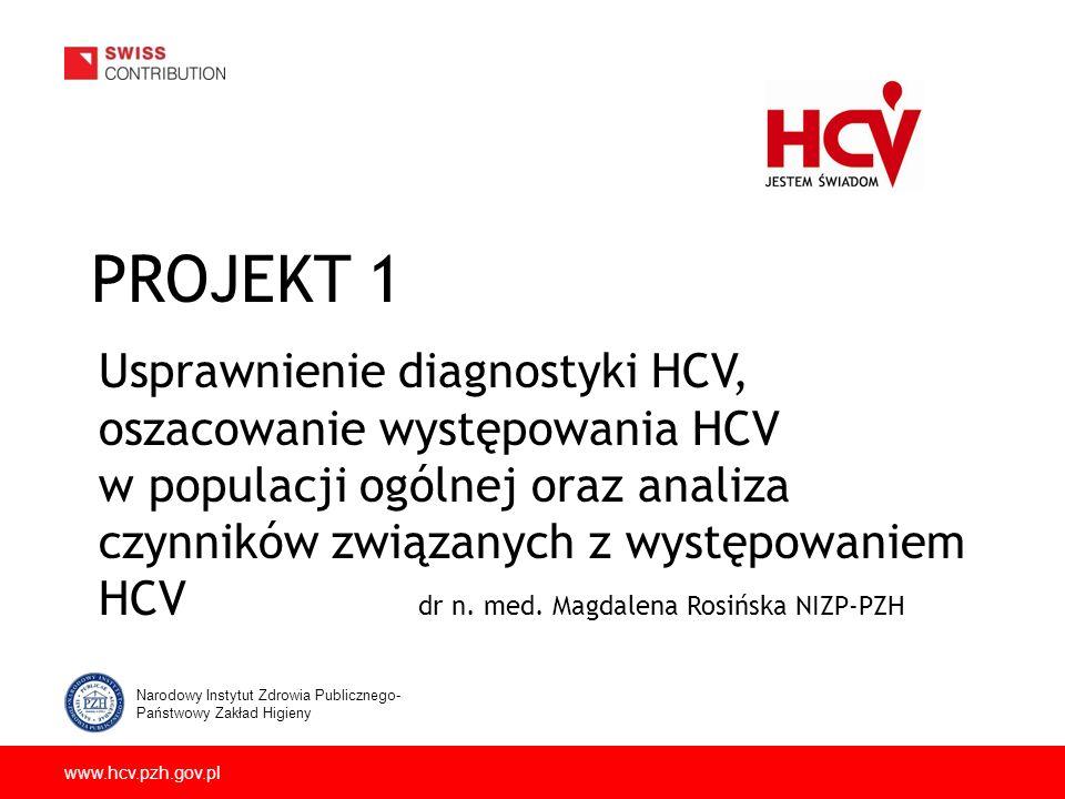 www.hcv.pzh.gov.pl PROJEKT 1 Usprawnienie diagnostyki HCV, oszacowanie występowania HCV w populacji ogólnej oraz analiza czynników związanych z występowaniem HCV dr n.