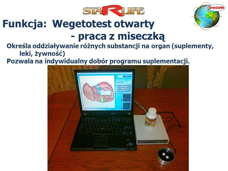 Funkcja: Wegetotest otwarty - praca z miseczką Określa oddziaływanie różnych substancji na organ (suplementy, leki, żywność) Pozwala na indywidualny d