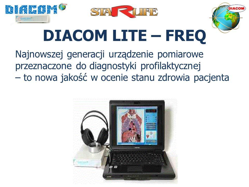 DIACOM LITE – FREQ Najnowszej generacji urządzenie pomiarowe przeznaczone do diagnostyki profilaktycznej – to nowa jakość w ocenie stanu zdrowia pacje