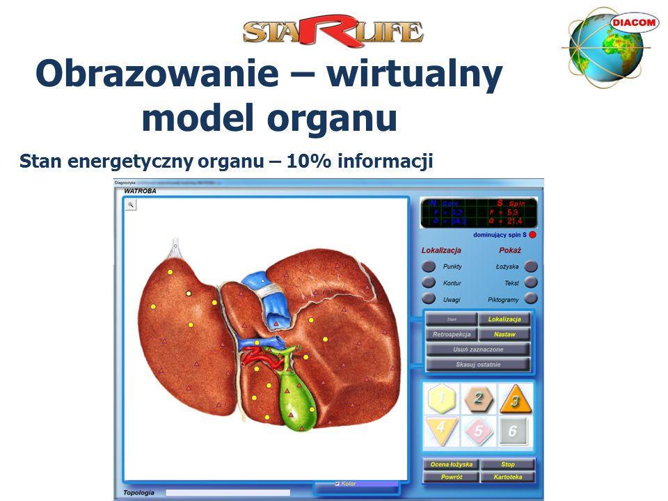 Obrazowanie – wirtualny model organu Stan energetyczny organu – 10% informacji