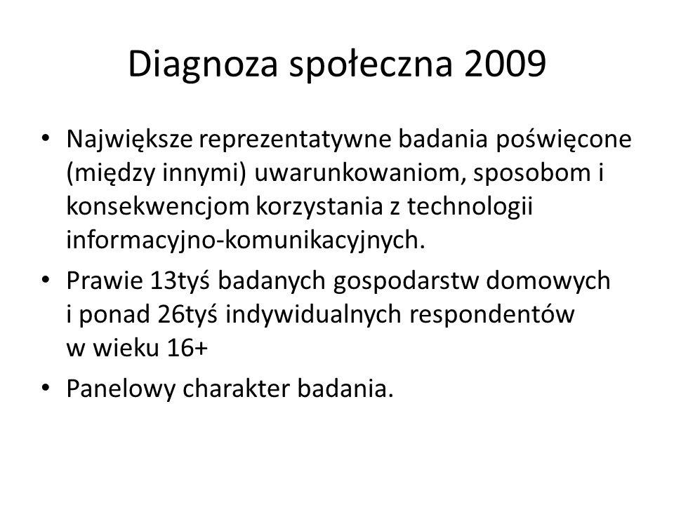 Diagnoza społeczna 2009 Największe reprezentatywne badania poświęcone (między innymi) uwarunkowaniom, sposobom i konsekwencjom korzystania z technolog