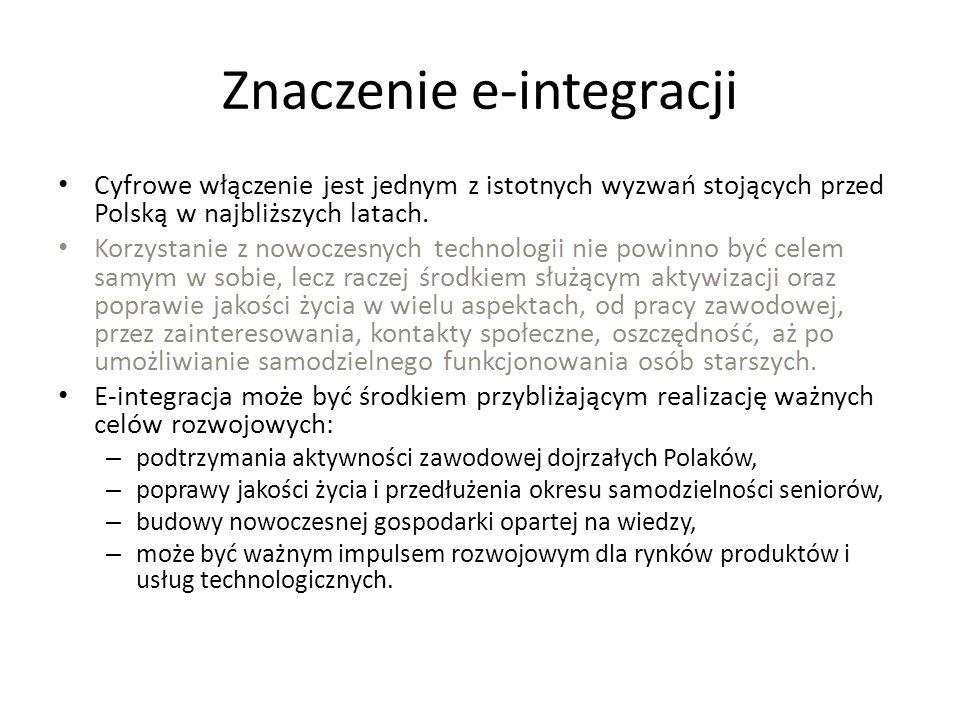 Znaczenie e-integracji Cyfrowe włączenie jest jednym z istotnych wyzwań stojących przed Polską w najbliższych latach. Korzystanie z nowoczesnych techn