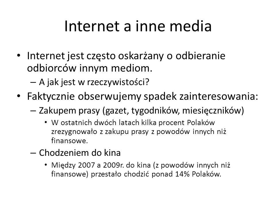 Internet a inne media Internet jest często oskarżany o odbieranie odbiorców innym mediom. – A jak jest w rzeczywistości? Faktycznie obserwujemy spadek
