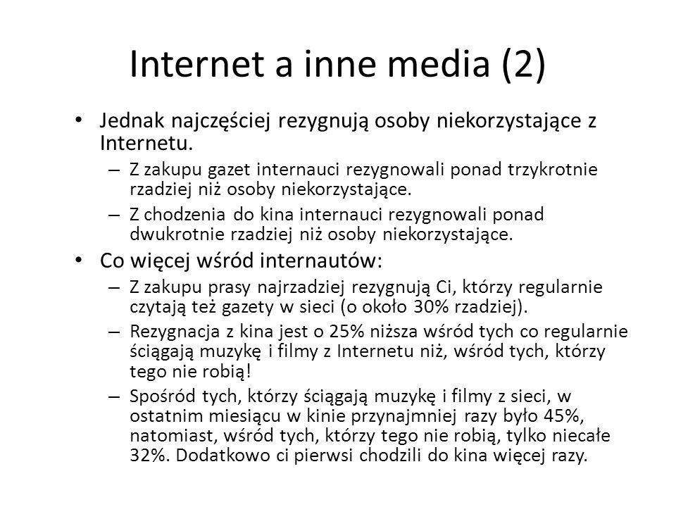Internet a inne media (2) Jednak najczęściej rezygnują osoby niekorzystające z Internetu. – Z zakupu gazet internauci rezygnowali ponad trzykrotnie rz