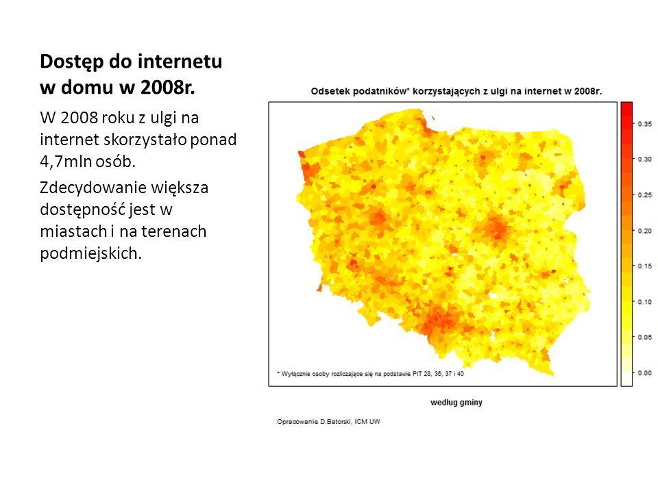 Dostęp do internetu w domu w 2008r. W 2008 roku z ulgi na internet skorzystało ponad 4,7mln osób. Zdecydowanie większa dostępność jest w miastach i na