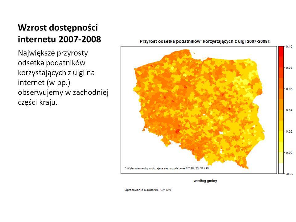 Wzrost dostępności internetu 2007-2008 Największe przyrosty odsetka podatników korzystających z ulgi na internet (w pp.) obserwujemy w zachodniej częś