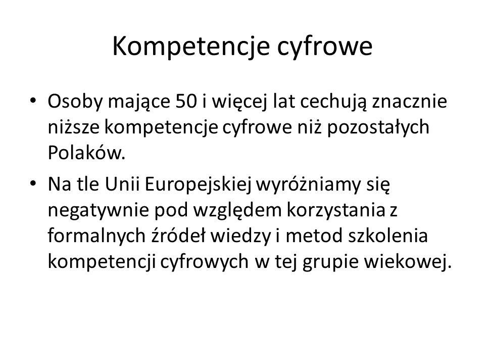 Kompetencje cyfrowe Osoby mające 50 i więcej lat cechują znacznie niższe kompetencje cyfrowe niż pozostałych Polaków. Na tle Unii Europejskiej wyróżni