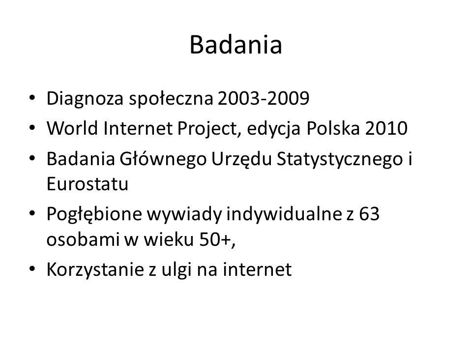 Badania Diagnoza społeczna 2003-2009 World Internet Project, edycja Polska 2010 Badania Głównego Urzędu Statystycznego i Eurostatu Pogłębione wywiady