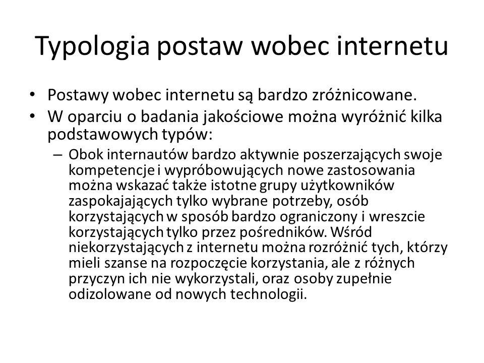 Typologia postaw wobec internetu Postawy wobec internetu są bardzo zróżnicowane. W oparciu o badania jakościowe można wyróżnić kilka podstawowych typó
