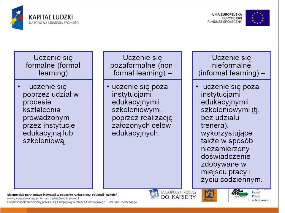 Uczenie się formalne (formal learning) – uczenie się poprzez udział w procesie kształcenia prowadzonym przez instytucję edukacyjną lub szkoleniową.
