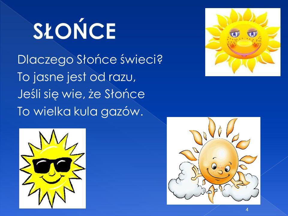 Dlaczego Słońce świeci? To jasne jest od razu, Jeśli się wie, że Słońce To wielka kula gazów. 4