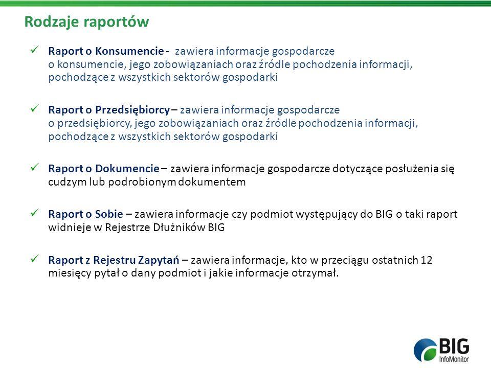 Rodzaje raportów Raport o Konsumencie - zawiera informacje gospodarcze o konsumencie, jego zobowiązaniach oraz źródle pochodzenia informacji, pochodzą