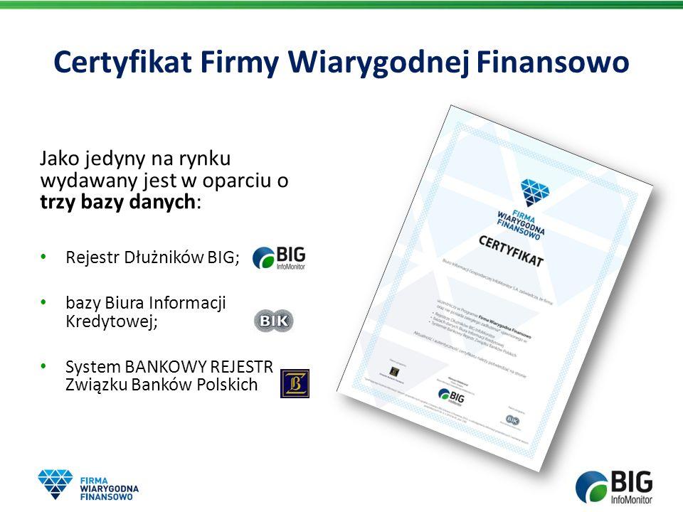 Jako jedyny na rynku wydawany jest w oparciu o trzy bazy danych: Rejestr Dłużników BIG; bazy Biura Informacji Kredytowej; System BANKOWY REJESTR Związ