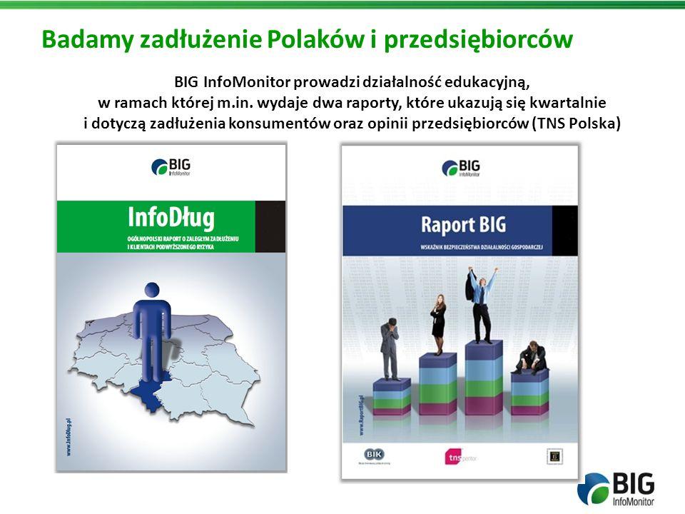 BIG InfoMonitor prowadzi działalność edukacyjną, w ramach której m.in. wydaje dwa raporty, które ukazują się kwartalnie i dotyczą zadłużenia konsument