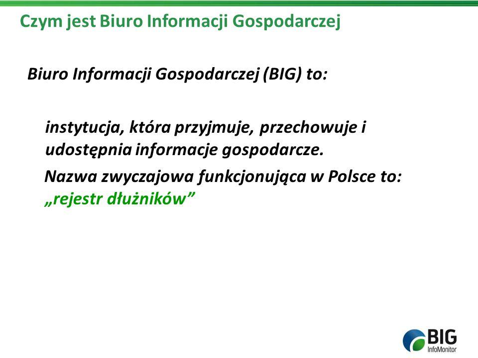 Czym jest Biuro Informacji Gospodarczej Biuro Informacji Gospodarczej (BIG) to: instytucja, która przyjmuje, przechowuje i udostępnia informacje gospo