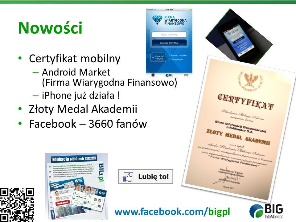 Nowości Certyfikat mobilny – Android Market (Firma Wiarygodna Finansowo) – iPhone już działa ! Złoty Medal Akademii Facebook – 3660 fanów www.facebook