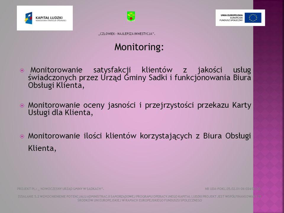 Monitoring: Monitorowanie satysfakcji klientów z jakości usług świadczonych przez Urząd Gminy Sadki i funkcjonowania Biura Obsługi Klienta, Monitorowanie oceny jasności i przejrzystości przekazu Karty Usługi dla Klienta, Monitorowanie ilości klientów korzystających z Biura Obsługi Klienta, CZŁOWIEK – NAJLEPSZA INWESTYCJA.