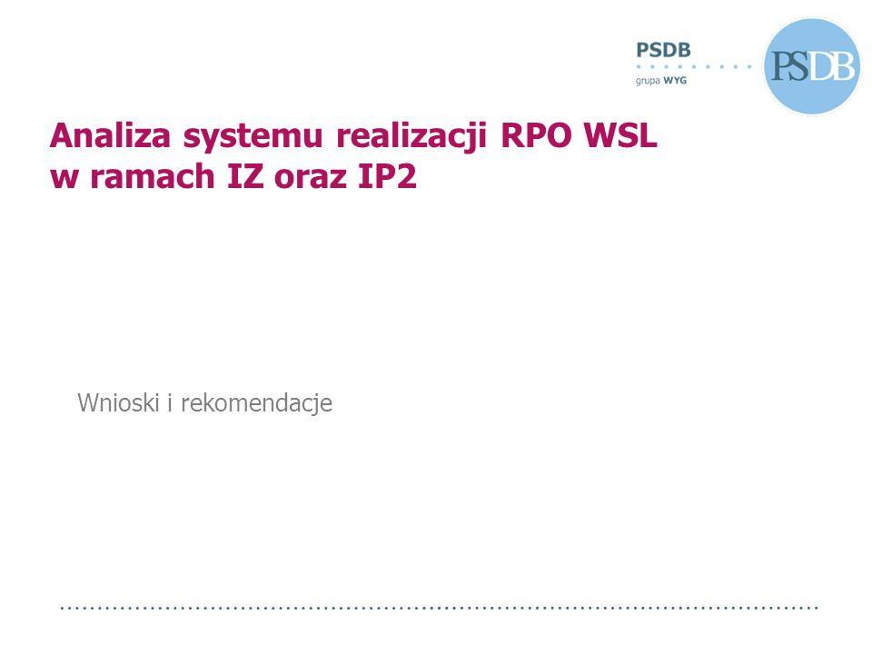 Wnioski i rekomendacje Analiza systemu realizacji RPO WSL w ramach IZ oraz IP2