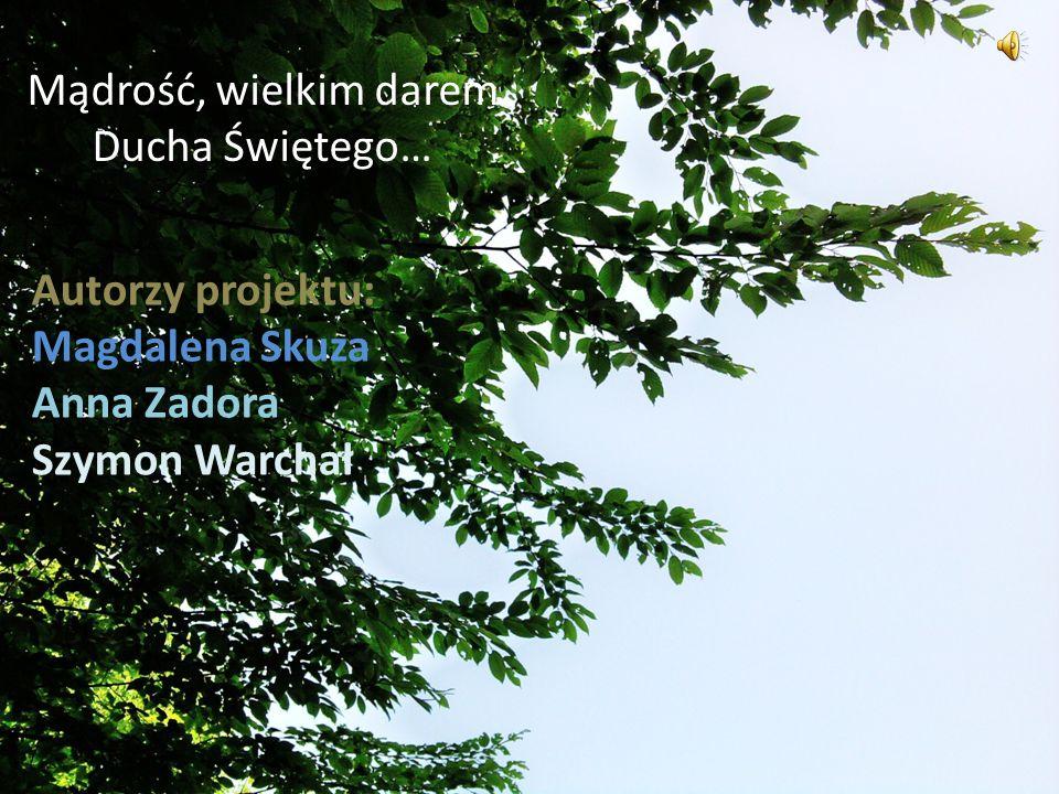 Mądrość, wielkim darem Ducha Świętego… Autorzy projektu: Magdalena Skuza Anna Zadora Szymon Warchał