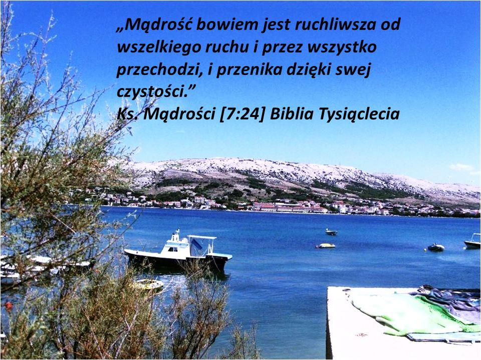 Mądrość bowiem jest ruchliwsza od wszelkiego ruchu i przez wszystko przechodzi, i przenika dzięki swej czystości. Ks. Mądrości [7:24] Biblia Tysiąclec