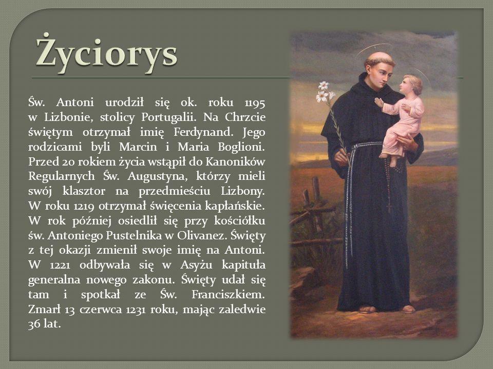 Św. Antoni urodził się ok. roku 1195 w Lizbonie, stolicy Portugalii. Na Chrzcie świętym otrzymał imię Ferdynand. Jego rodzicami byli Marcin i Maria Bo