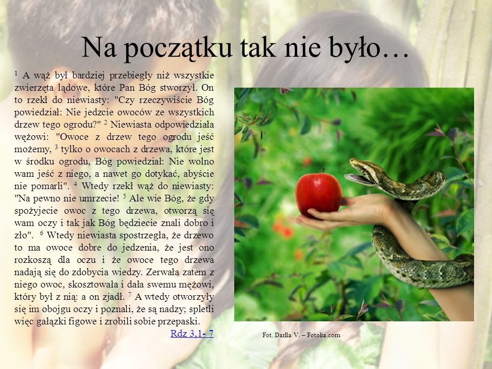 Na początku tak nie było… 1 A wąż był bardziej przebiegły niż wszystkie zwierzęta lądowe, które Pan Bóg stworzył. On to rzekł do niewiasty: