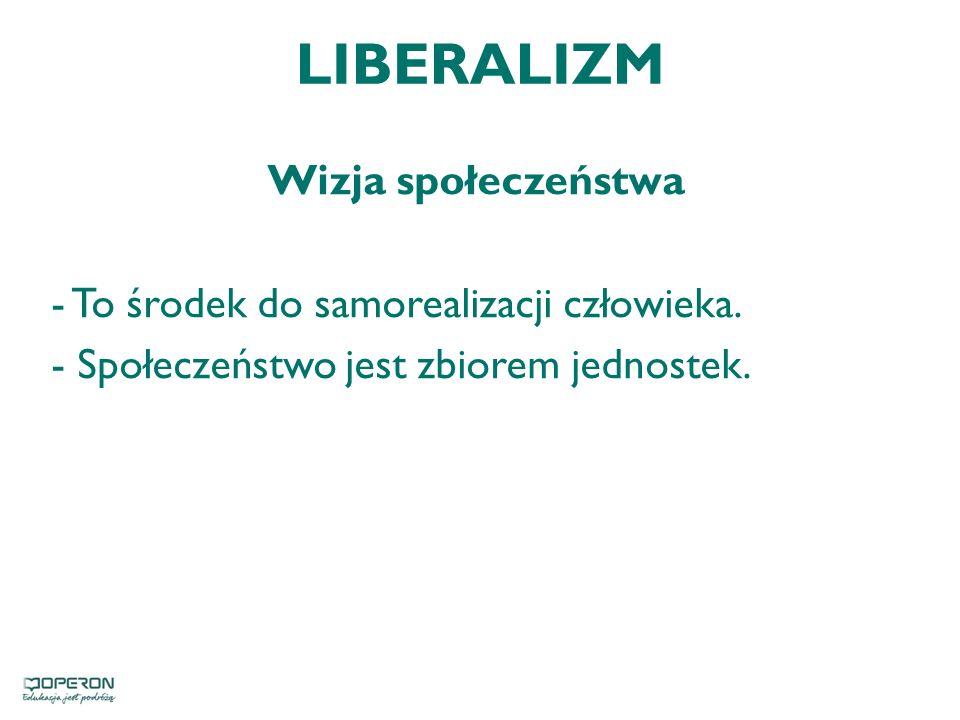 LIBERALIZM Wizja społeczeństwa - To środek do samorealizacji człowieka.