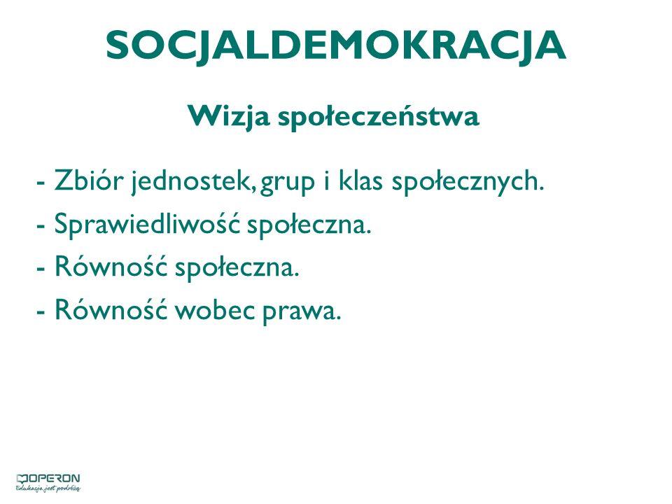 SOCJALDEMOKRACJA Wizja społeczeństwa - Zbiór jednostek, grup i klas społecznych.