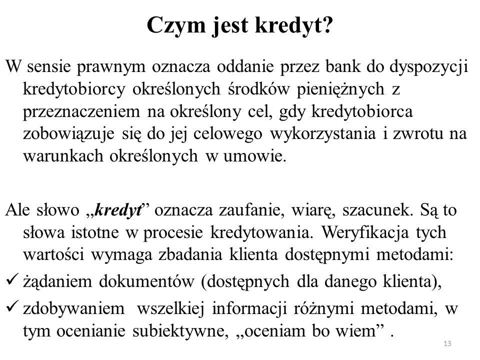 Czym jest kredyt? W sensie prawnym oznacza oddanie przez bank do dyspozycji kredytobiorcy określonych środków pieniężnych z przeznaczeniem na określon