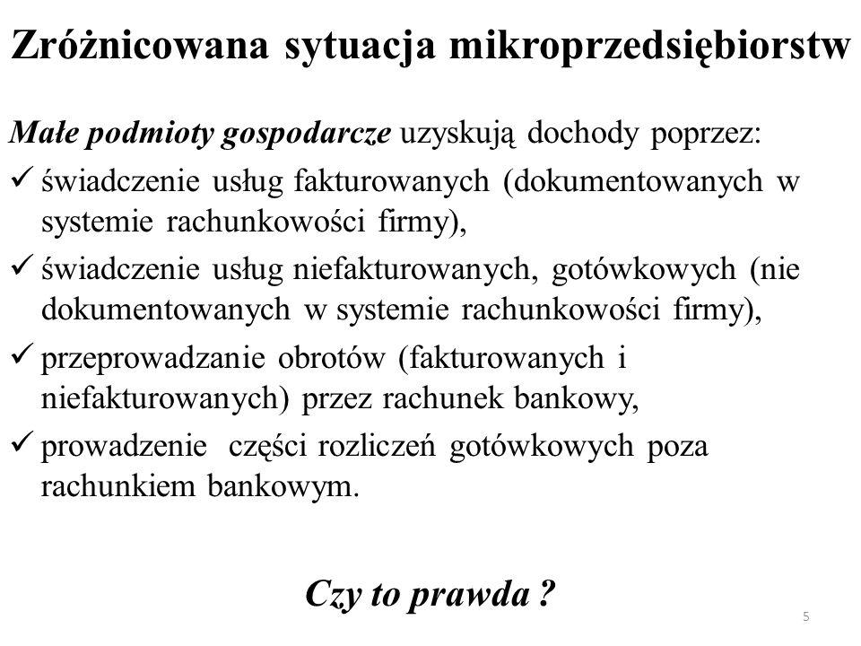 Zróżnicowana sytuacja mikroprzedsiębiorstw Małe podmioty gospodarcze uzyskują dochody poprzez: świadczenie usług fakturowanych (dokumentowanych w syst