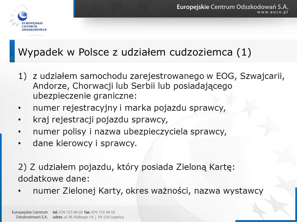 1)z udziałem samochodu zarejestrowanego w EOG, Szwajcarii, Andorze, Chorwacji lub Serbii lub posiadającego ubezpieczenie graniczne: numer rejestracyjn