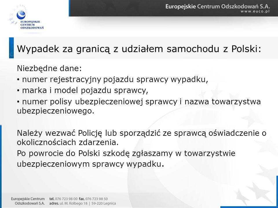 Wypadek za granicą z udziałem samochodu z Polski: Niezbędne dane: numer rejestracyjny pojazdu sprawcy wypadku, marka i model pojazdu sprawcy, numer po