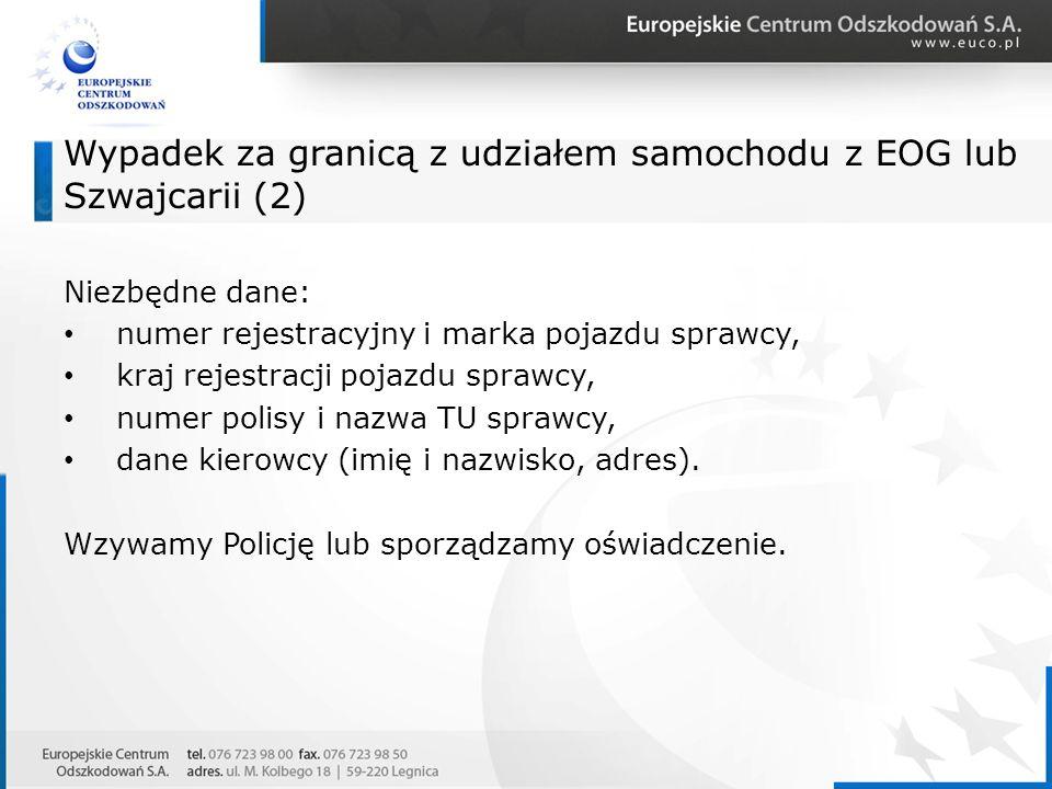 Wypadek za granicą z udziałem samochodu z EOG lub Szwajcarii (2) Niezbędne dane: numer rejestracyjny i marka pojazdu sprawcy, kraj rejestracji pojazdu