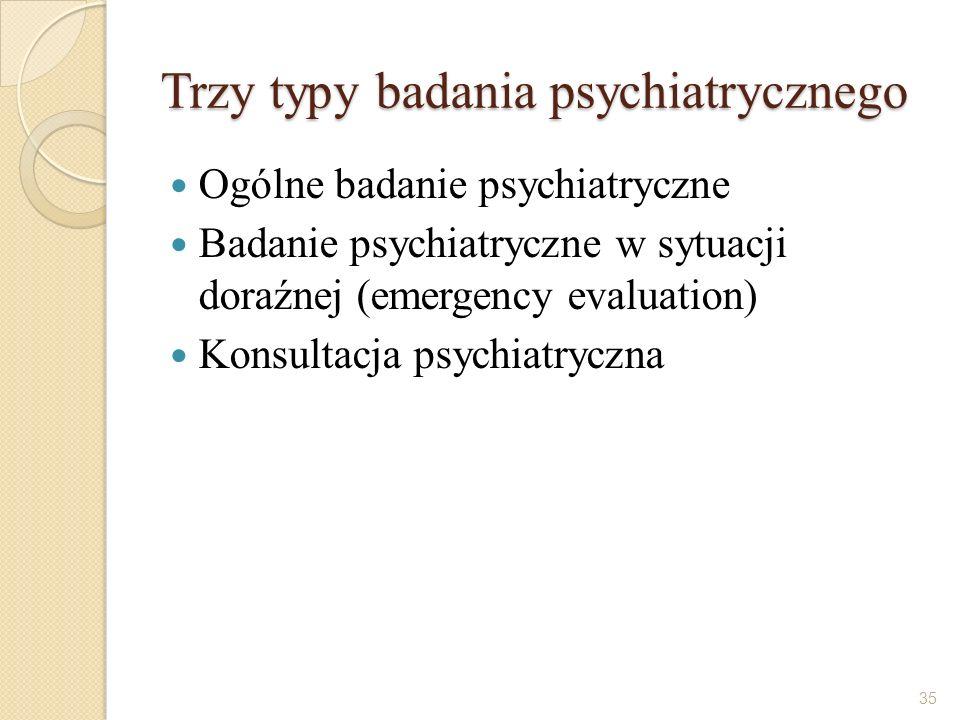 Trzy typy badania psychiatrycznego Ogólne badanie psychiatryczne Badanie psychiatryczne w sytuacji doraźnej (emergency evaluation) Konsultacja psychia