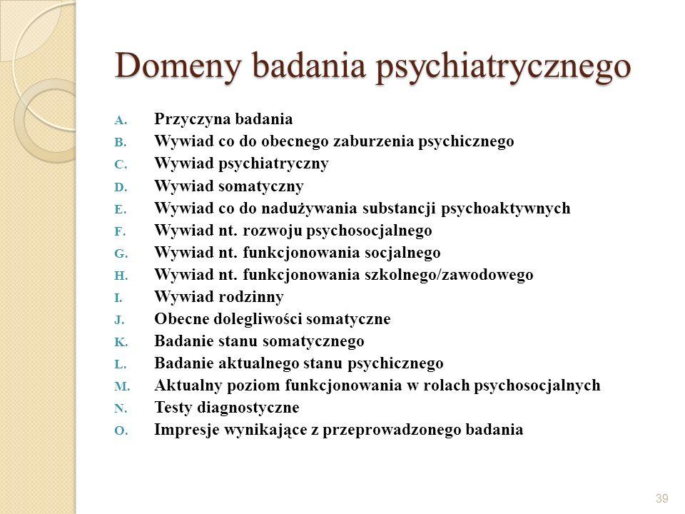 Domeny badania psychiatrycznego A. Przyczyna badania B. Wywiad co do obecnego zaburzenia psychicznego C. Wywiad psychiatryczny D. Wywiad somatyczny E.