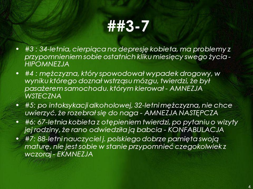 ##3-7 #3 : 34-letnia, cierpiąca na depresję kobieta, ma problemy z przypomnieniem sobie ostatnich kliku miesięcy swego życia - HIPOMNEZJA #4 : mężczyz