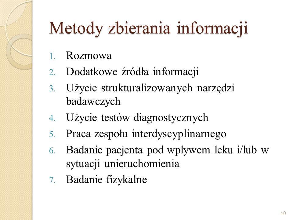 Metody zbierania informacji 1. Rozmowa 2. Dodatkowe źródła informacji 3. Użycie strukturalizowanych narzędzi badawczych 4. Użycie testów diagnostyczny