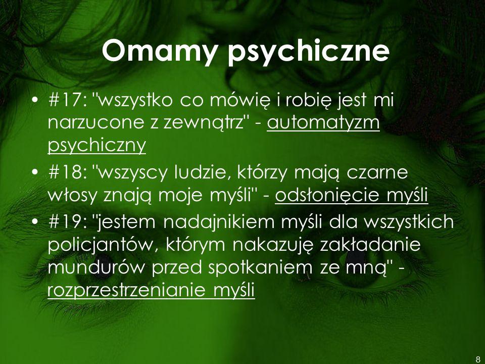 Domeny badania psychiatrycznego A.Przyczyna badania B.