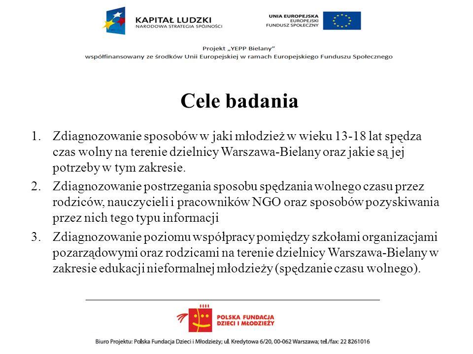 Cele badania 1.Zdiagnozowanie sposobów w jaki młodzież w wieku 13-18 lat spędza czas wolny na terenie dzielnicy Warszawa-Bielany oraz jakie są jej pot