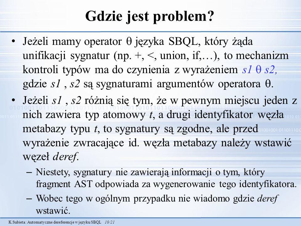 K.Subieta: Automatyczne dereferencje w języku SBQL 10/21 Gdzie jest problem? Jeżeli mamy operator języka SBQL, który żąda unifikacji sygnatur (np. +,