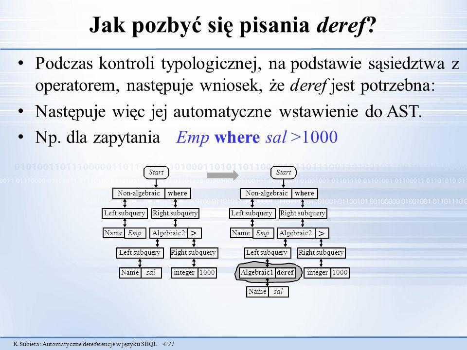 K.Subieta: Automatyczne dereferencje w języku SBQL 4/21 Jak pozbyć się pisania deref? Podczas kontroli typologicznej, na podstawie sąsiedztwa z operat