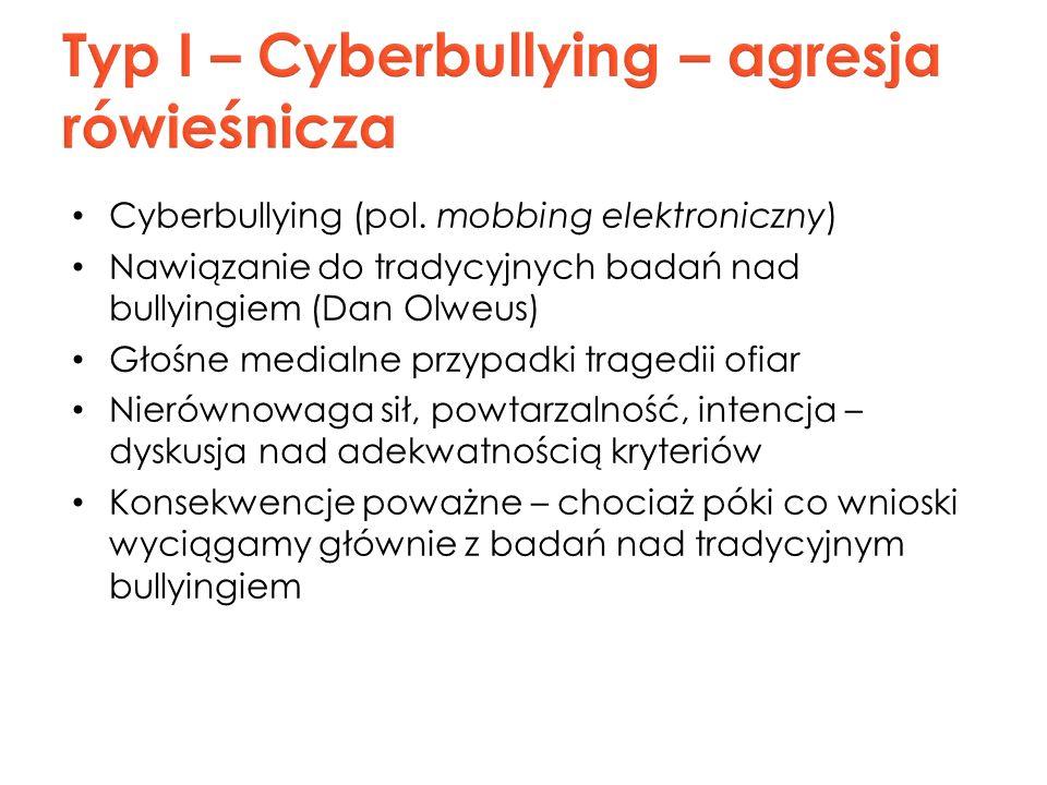 Cyberbullying (pol. mobbing elektroniczny) Nawiązanie do tradycyjnych badań nad bullyingiem (Dan Olweus) Głośne medialne przypadki tragedii ofiar Nier