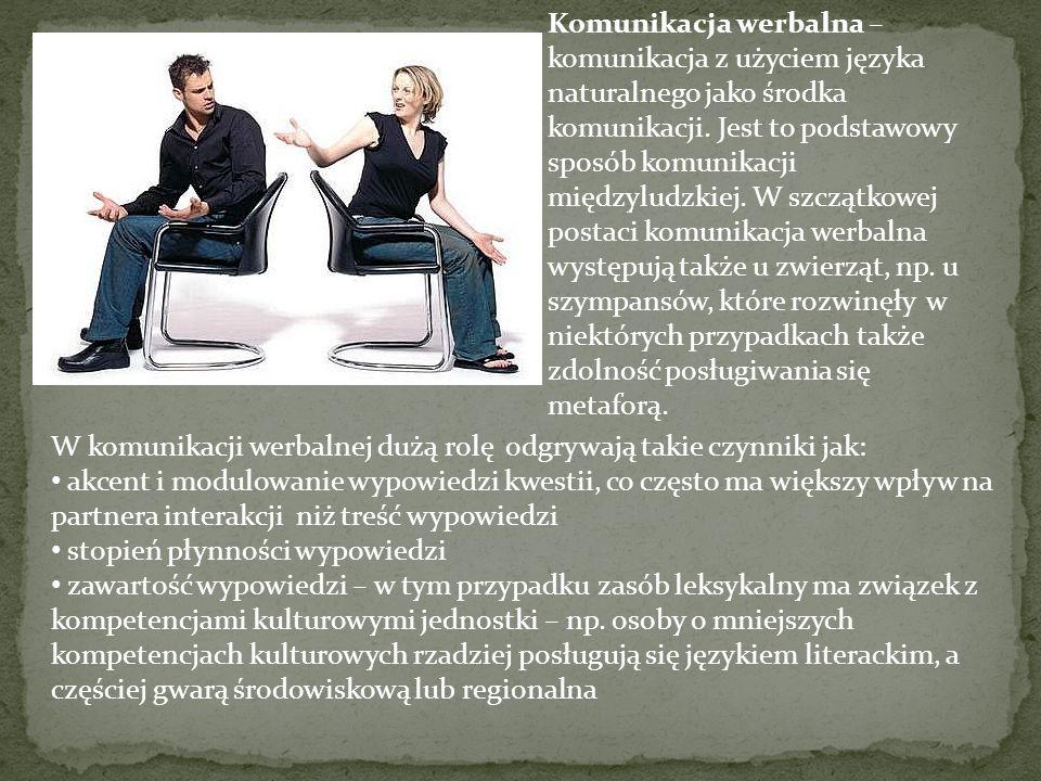 Istnieją dwa rodzaje komunikatów niewerbalnych: 1.Ruch ciała, takie jak wyraz twarzy, gesty, postawa 2.Zależność przestrzenna, czyli dystans, jaki utrzyma pomiędzy sobą i innymi Kluczem do sztuki komunikacji niewerbalnej jest spójność.