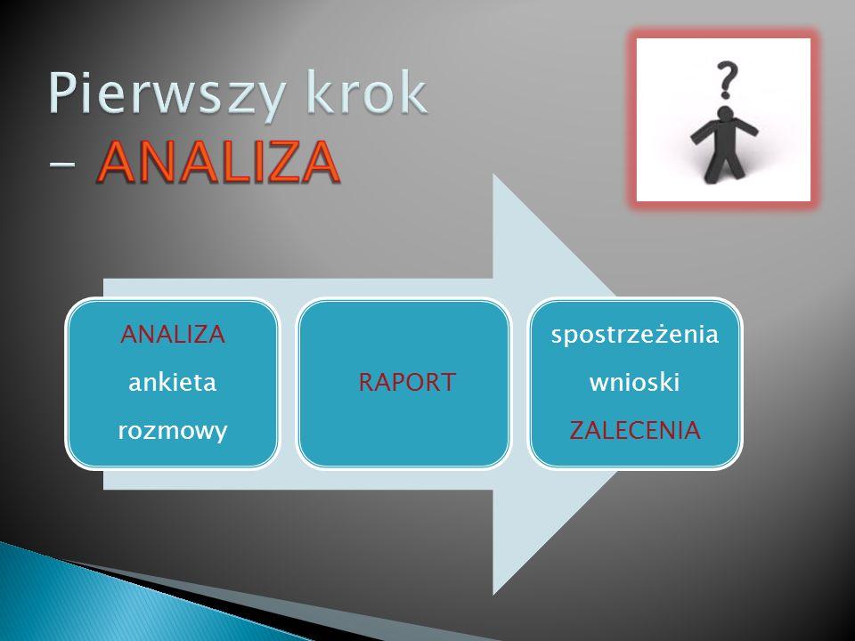 ANALIZA ankieta rozmowy RAPORT spostrzeżenia wnioski ZALECENIA