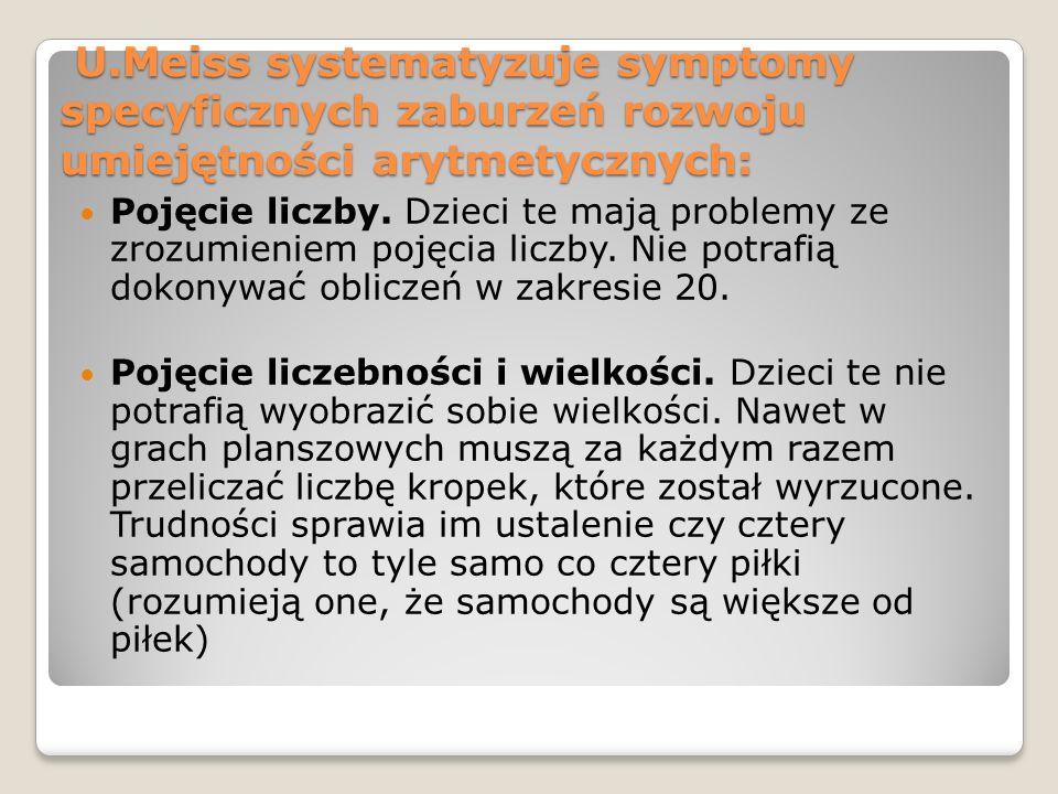 U.Meiss systematyzuje symptomy specyficznych zaburzeń rozwoju umiejętności arytmetycznych: U.Meiss systematyzuje symptomy specyficznych zaburzeń rozwo