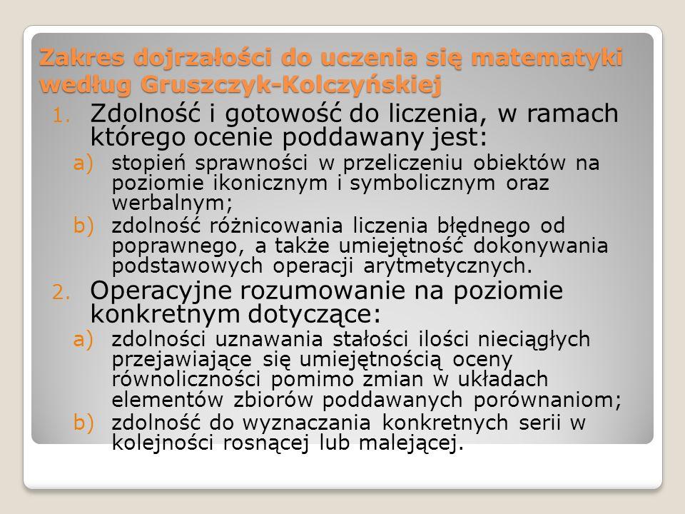 Zakres dojrzałości do uczenia się matematyki według Gruszczyk-Kolczyńskiej 1. Zdolność i gotowość do liczenia, w ramach którego ocenie poddawany jest: